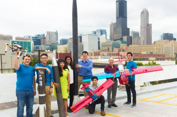 AIAA students in front of Chicago skyline