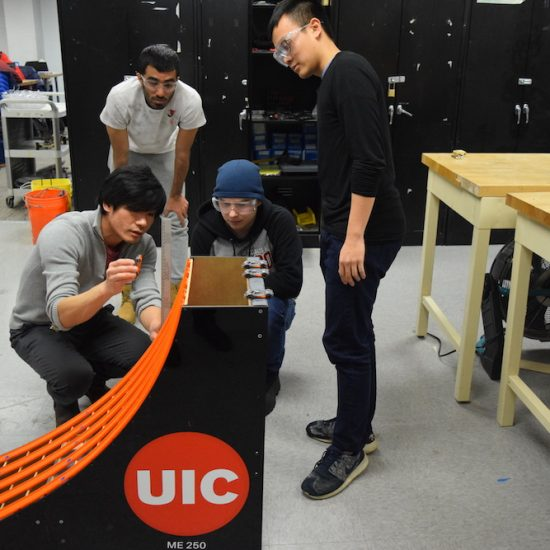 UIC MIE faculty member with augmented reality equipment