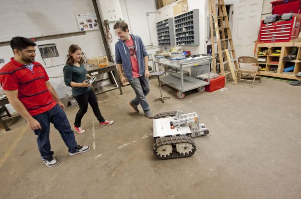EDT students testing their remote-controlled robot