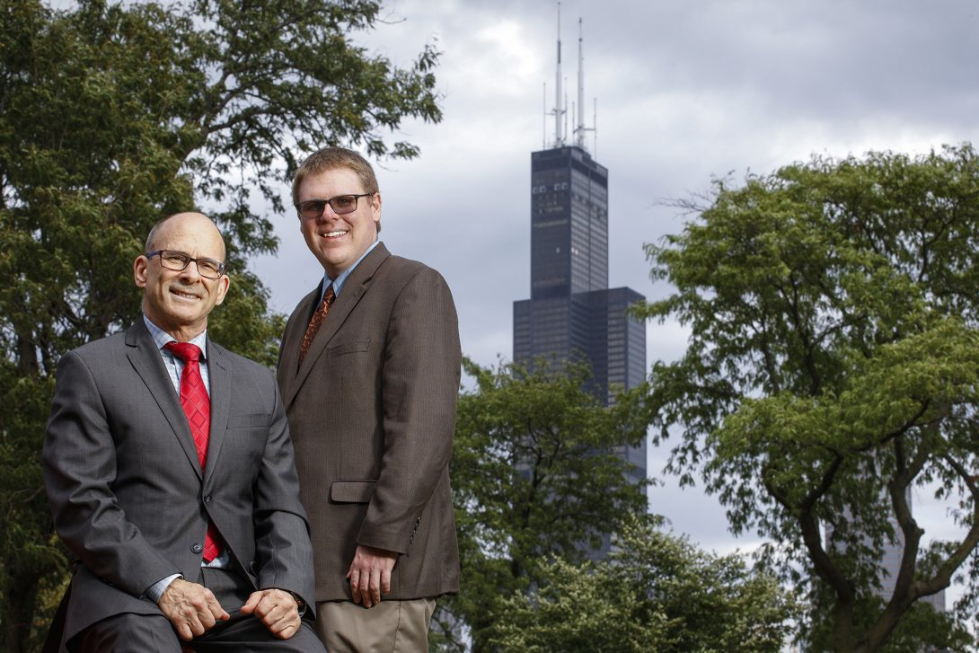 Professors Ken Brezinsky (left) and Patrick Lynch of UIC's Department of Mechanical and Industrial Engineering.