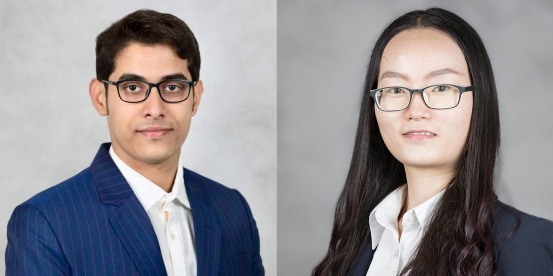 Rukmava Chatterjeeand Kailin Chen, both PhD candidates in MIE, recently received awards for their research.