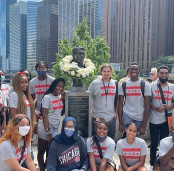 18 of 19 DuSable Scholars at the wreath laying ceremony to commemorate the 203rd anniversary of Jean-Baptiste Pointe DuSable hosted by DuSable Heritage Association.